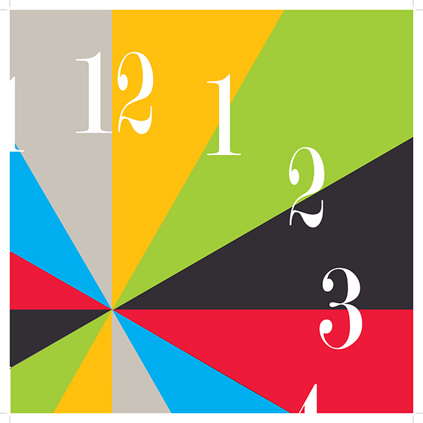 clock i designed based off of the work of paul rand the clock hands