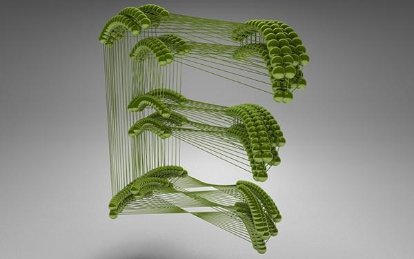 alphabet 3D CGI creative adversting 3d typo cinema 4d beads colour colors type c4d letters modern Typeface