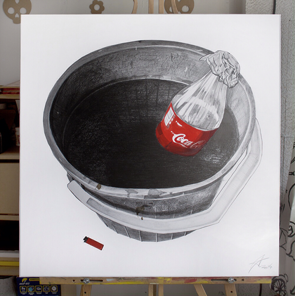 graphic art abstract water cocacola smoke color red bucket Picture BonAqua