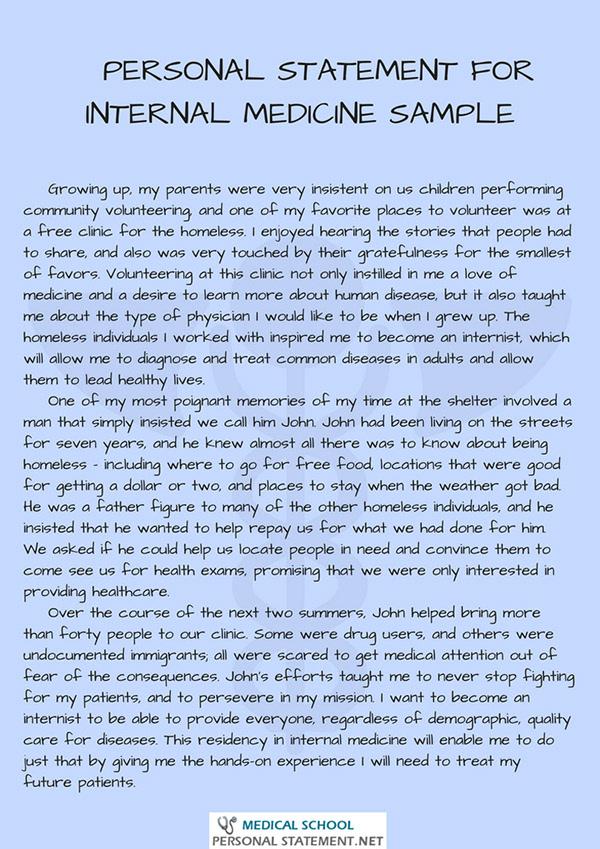 internal medicine personal statement