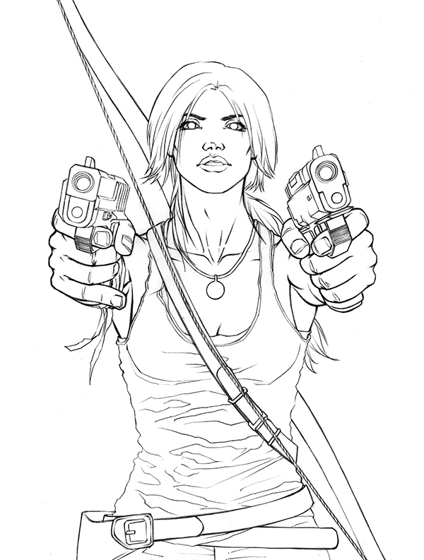 D Line Drawing Game : Tomb raider drawings