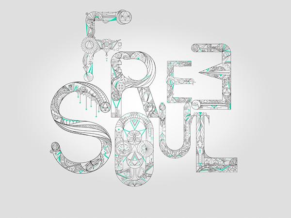 free soul blue line art