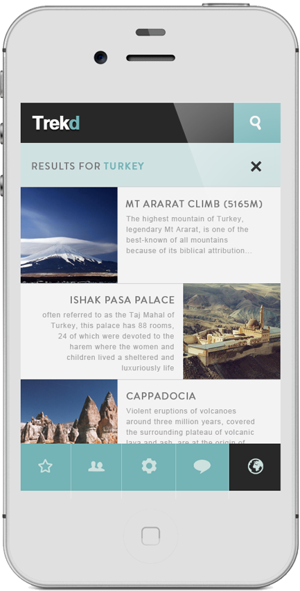 app mobile iphone application blue black White sport mountain trekking Web design Webdesign phone