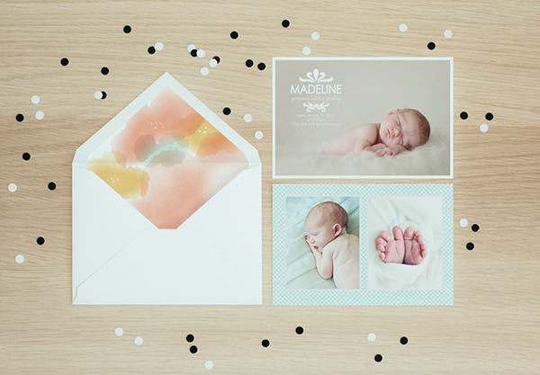 birth announcement baby Invitation card photographer template template psd envelope liner envelope Custom Illustration floral watercolor