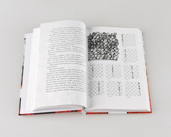 alma black and white ink chess book print judit berg judit polgár game puzzle children illustrated pictogram adventure alma sötét birodalom
