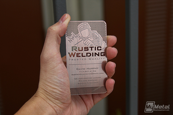 rustic welding copper finish metal business cards on behance - Welding Business Cards