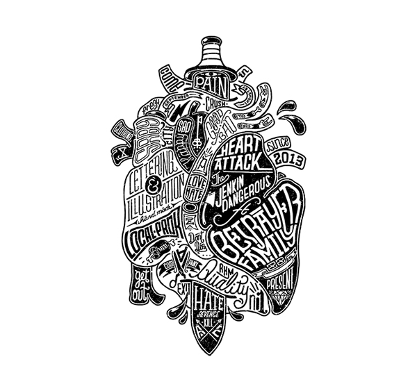bw type lettering vintage monochrome skull beer heart motorcycle contemporary
