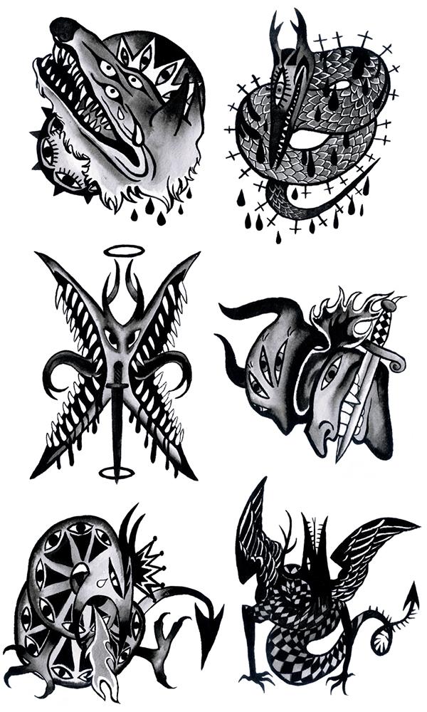 "Tattoo Flash Art Black And White Guitar: ""Something Wicked"" Tattoo Flash Sheet On Behance"