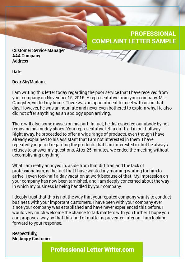 Professional complaint letter sample on Behance – Professional Complaint Letter