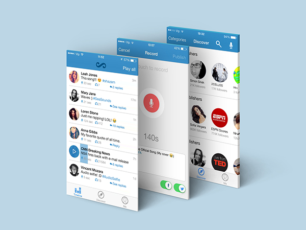 soundscriber app iphone android Web Mockup screens Icon store market play google apple metro clean