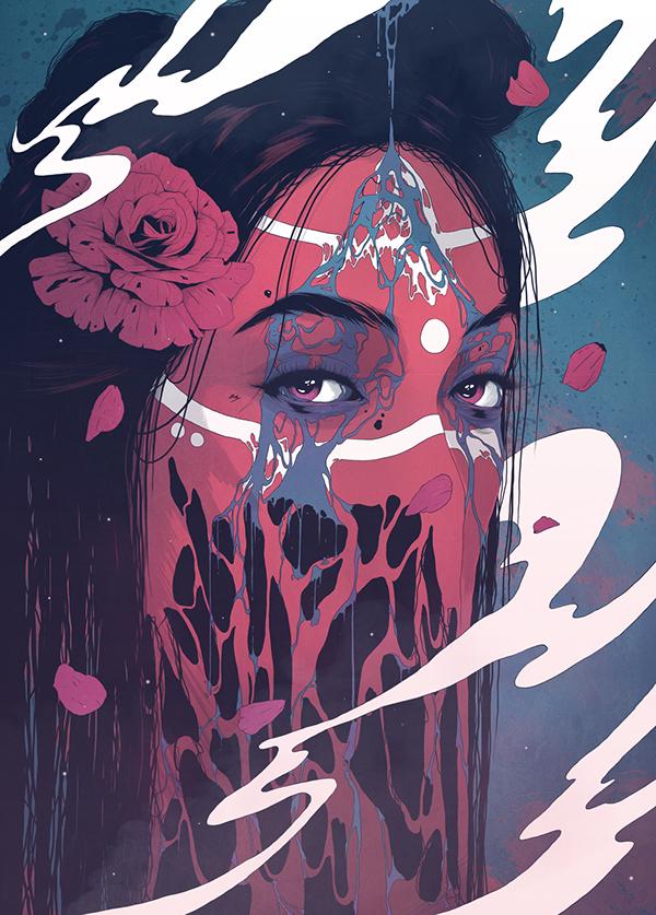 surreal girl portrait slime Native tribal hair rose petals Steam smoke colors eyes details Ps25Under25