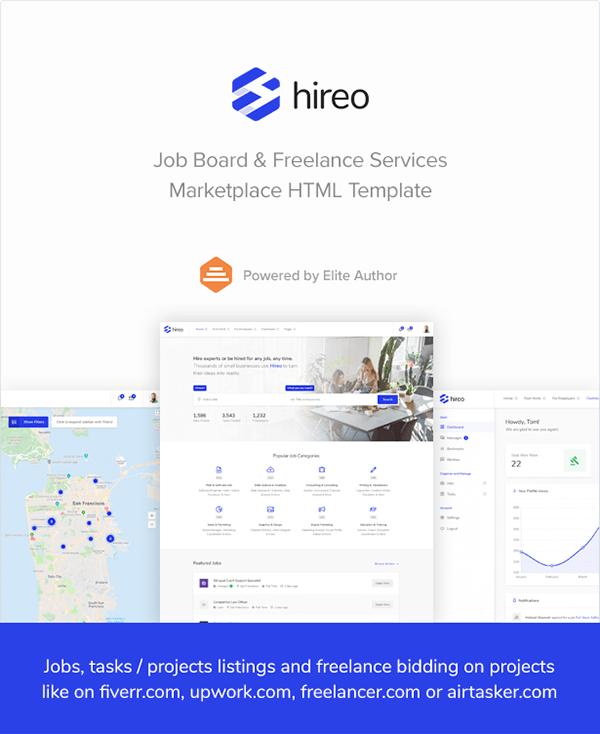 hireo job board freelance services marketplace html on wacom gallery