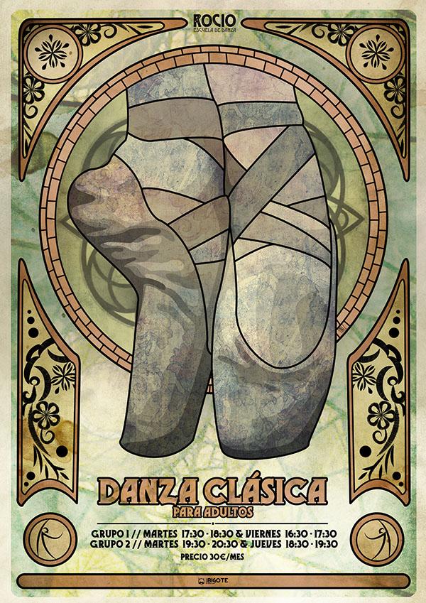 DANCE   ad Danitinez bigotefilms school corporative image tinez Dani art nouveau Classic texture organic symmetry
