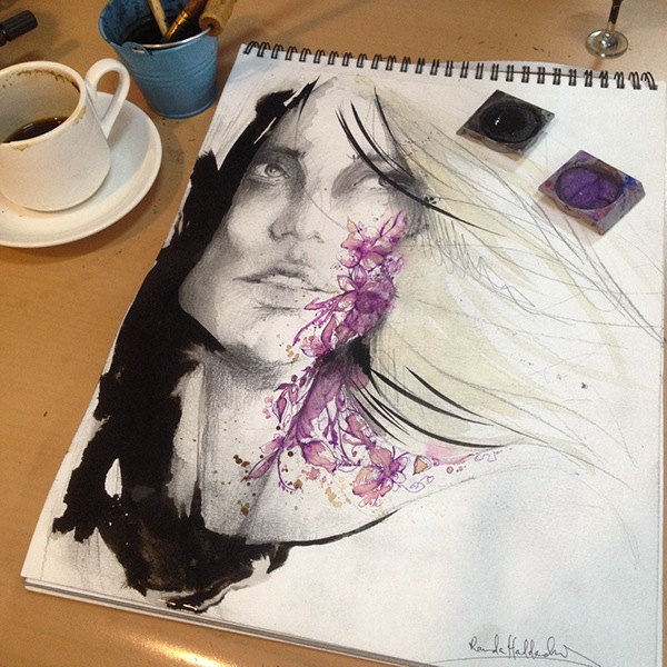 tattoo face female art Finearts Paintings drawings ink doodles sketch woman colour watercolour Coffee