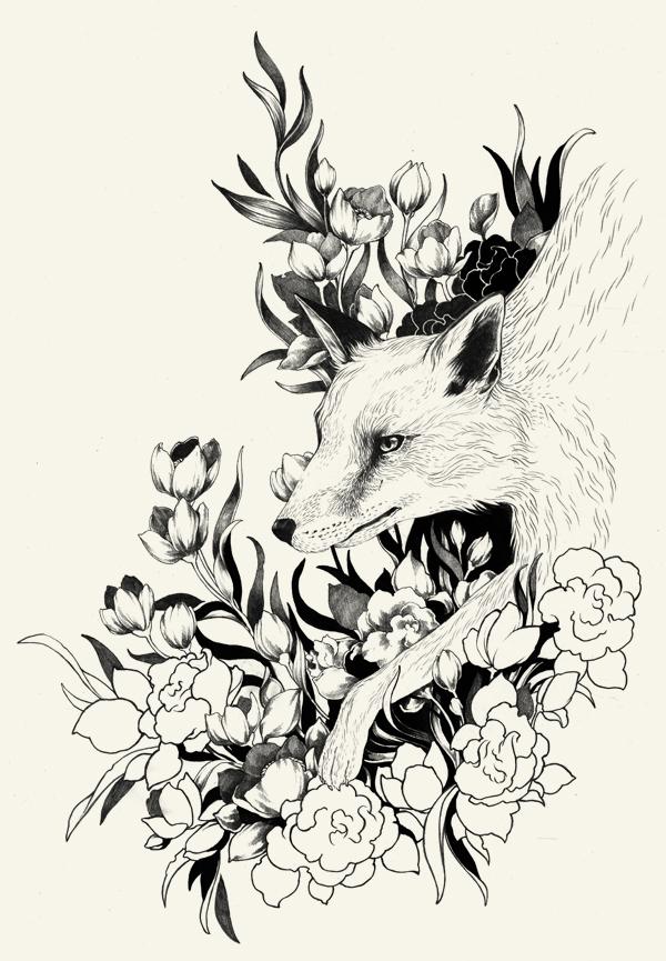 fox in foliage on Behance