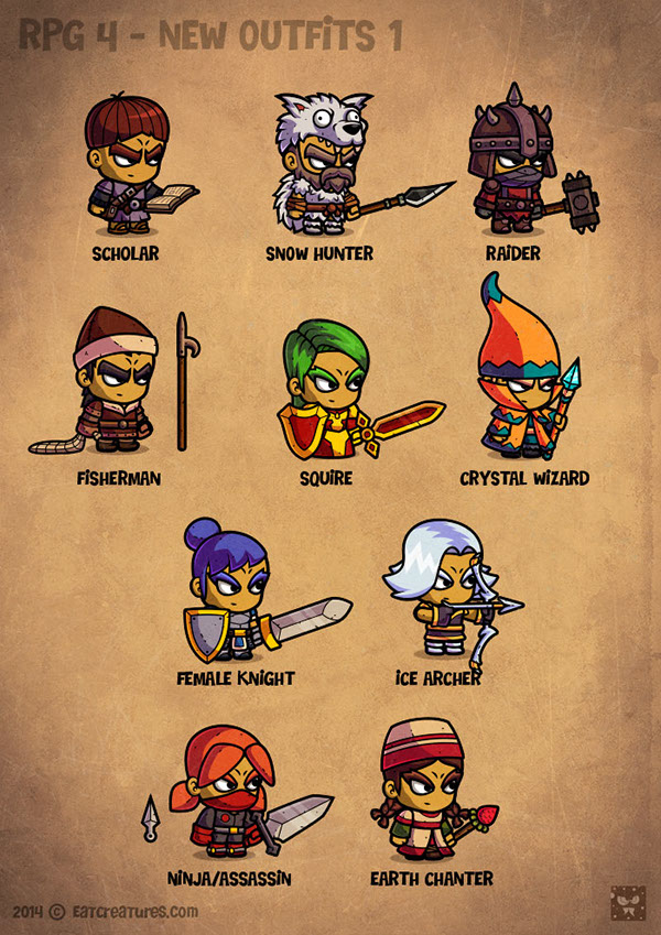 Game Design Character Classes : Cartoon rpg characters on behance