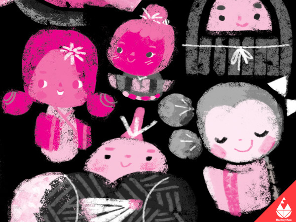 electrolychee kokeshi kawaii mochi pink