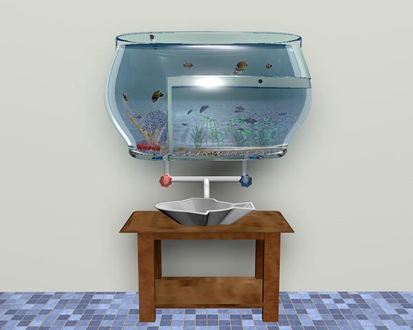Faucet Sink 3d design Fish Tank unique sink presentation video