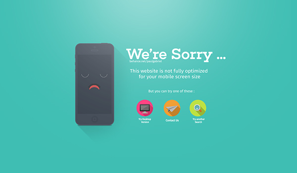 Error Screen Screen Size Error Page | Flat