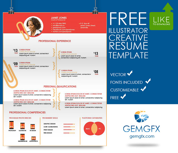 simple illustrator resume template free download on behance