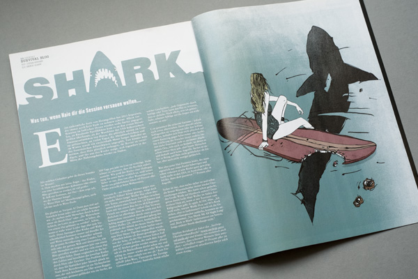Editorial Illustration ink Character surfers magazin