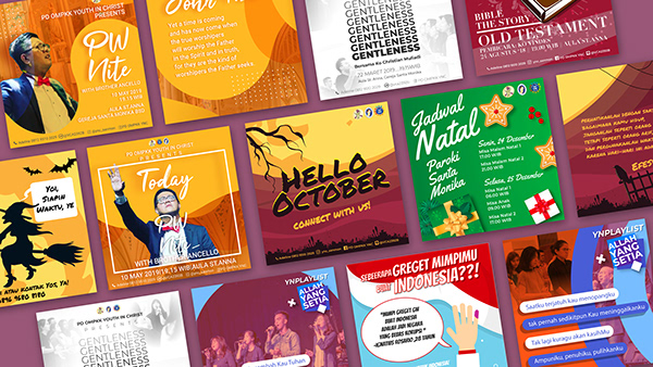 A collection of social media post designs that promotes Youth in Christ