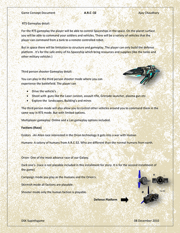 Game Concept Document ARC RTS On Student Show - Game concept document