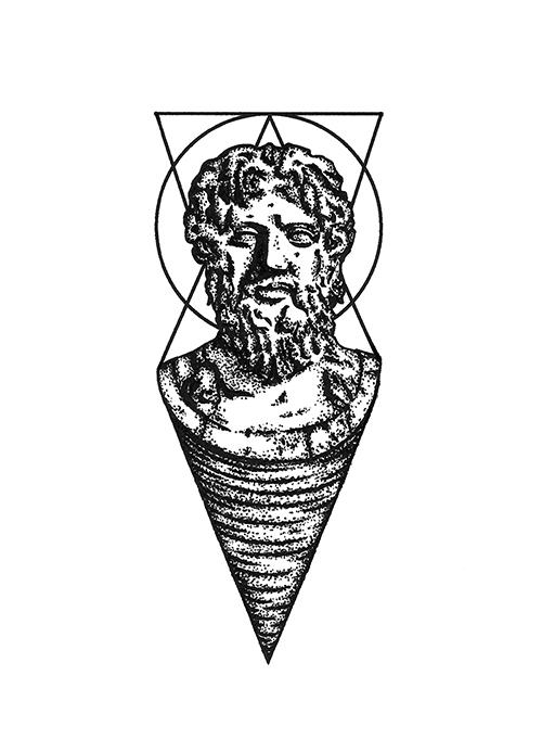 Zeus Line Drawing : Tattoo statue zeus on behance