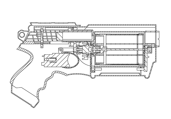 Model of a Nerf Gun by Hasbro created on Solidworks. The model was composed  from 24 different parts and assembled together to make up the complete 3D  CAD ...