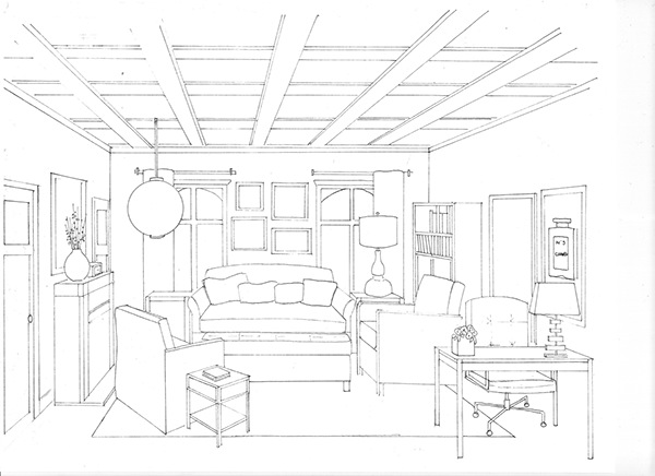 Portfolio on behance for Living room 1 point perspective