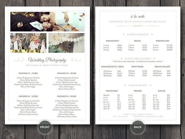 Wedding Photographer Pricing Guide Sheet Photoshop Template