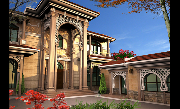 Villa khaled exterior design in doha qatar on behance for Classic villa exterior design