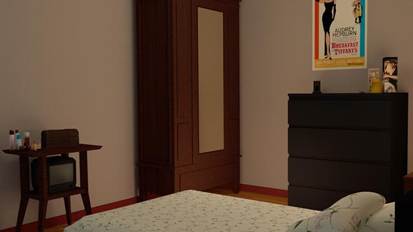 3D 3d modeling blender bedroom room glass realistic furniture bed table