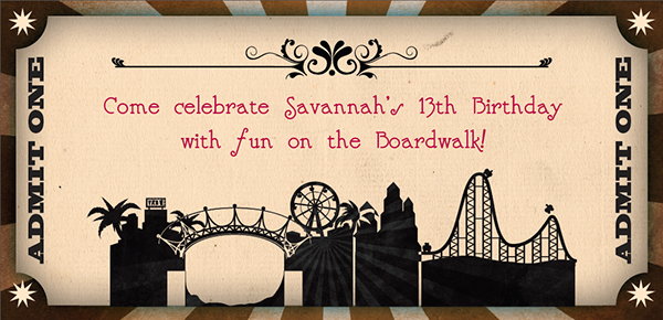 Boardwalk theme birthday invitation on behance thank you stopboris Images