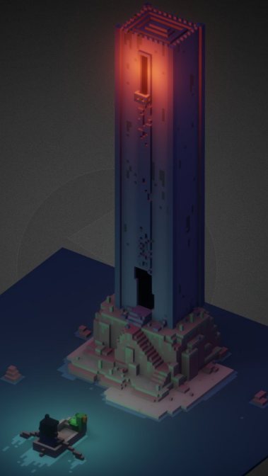 voxel 3D modelling modeling pirate Sailor see Island tower parrot