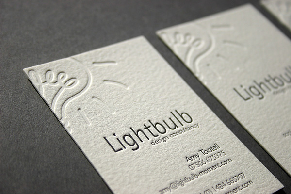 Ink deboss letterpress business cards on behance lightbulb are a design consultancy with bright ideas looking for a print finish to give their business cards another dimension the design was created for colourmoves