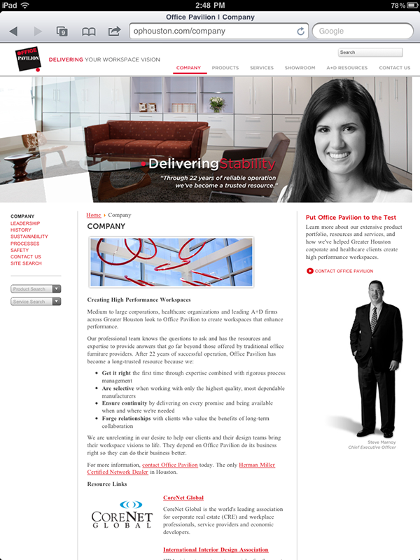 Office Pavilion, office furniture,mobile website,MooTools