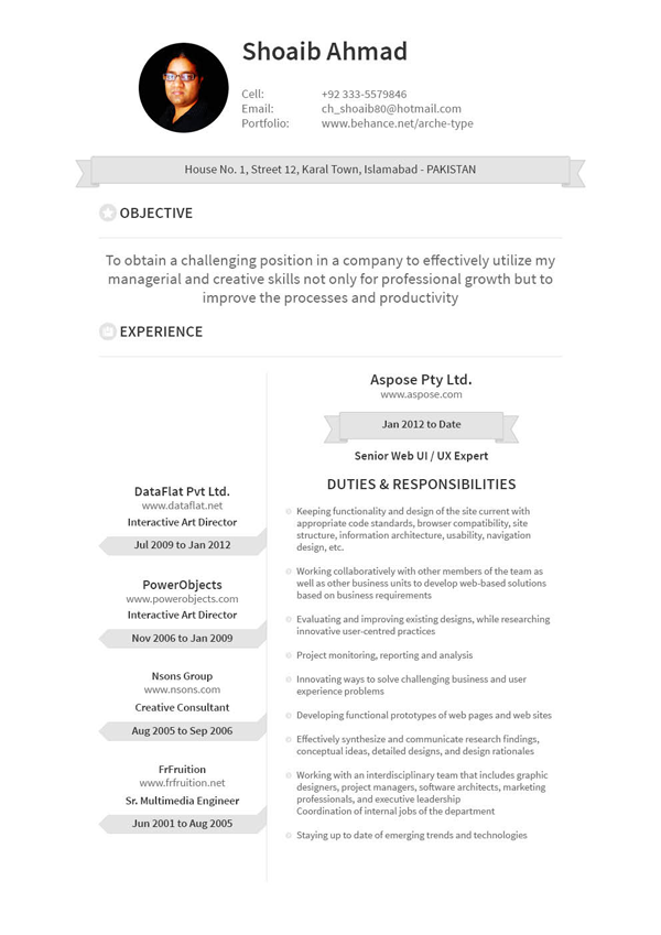 Personal Resume Design on Behance