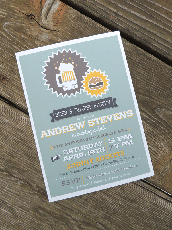 Burgers Beer Diaper Party Dad Shower Invitation on Behance