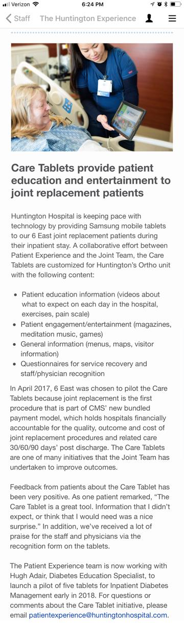 Huntington Hospital Engagement App on Behance
