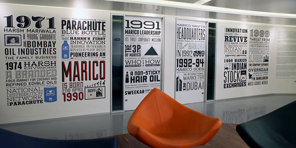 Wall Art For Office Space : Marico corporate office space mumbai design on behance