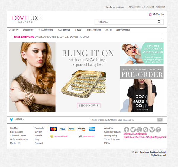 Graphics and Web design for Love Luxe Boutique on Behance