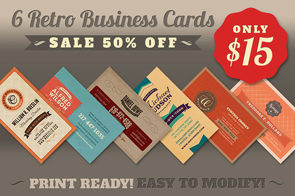 6 retro business cards on behance buy this business card templates bundle here wajeb
