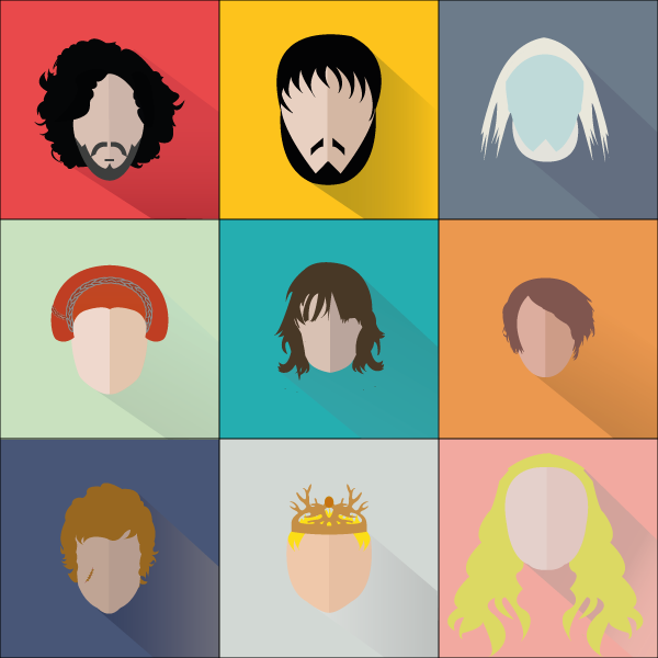Flat Design Character Download : Game of thrones characters flat with long shadow on behance