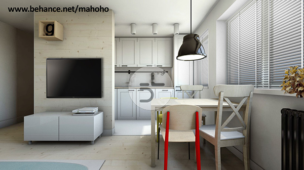 salon i kuchnia 20m2 on behance. Black Bedroom Furniture Sets. Home Design Ideas
