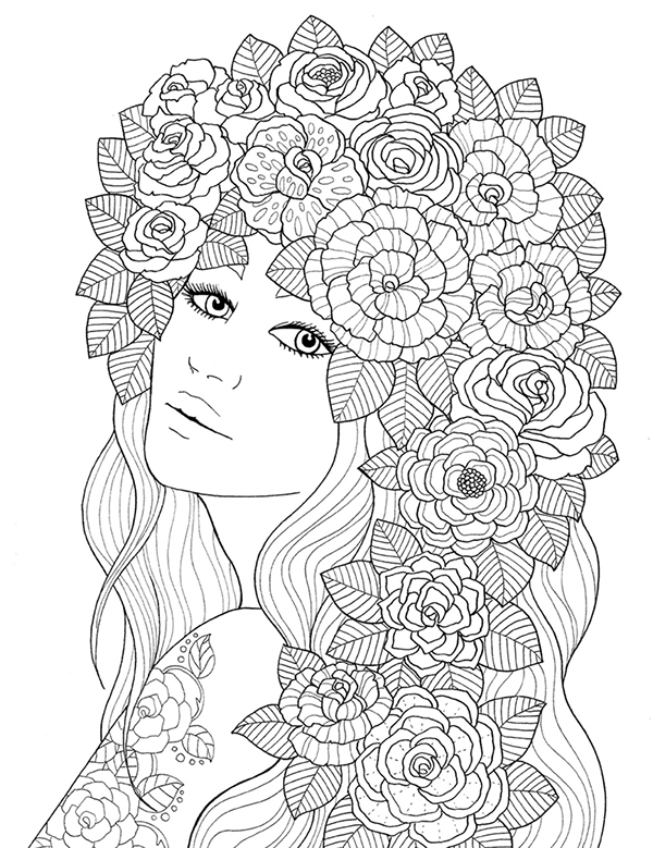"adult coloring pages for women | ""pour voir la vie en rose"" coloring book agenda 2016 on ..."