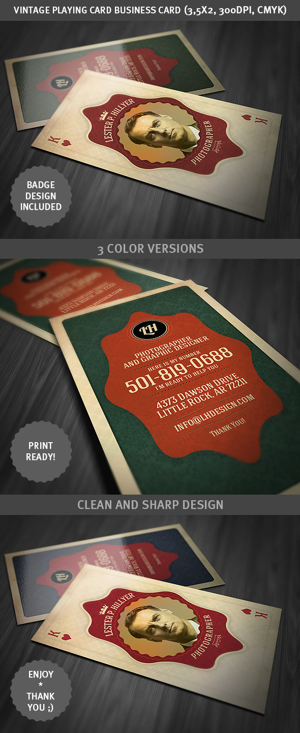 Vintage playing card business card on behance download this business card template here reheart Image collections