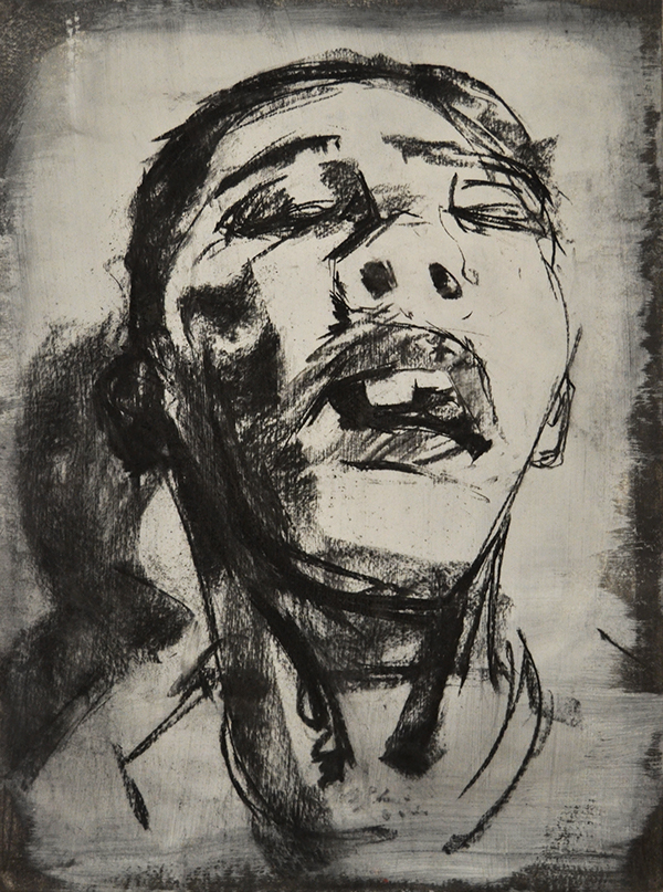 charcoal mixed media black and white Interior portraits