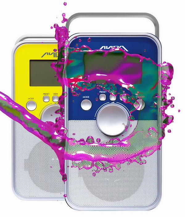 Radio retro radio ad advert splash 3D color water lira