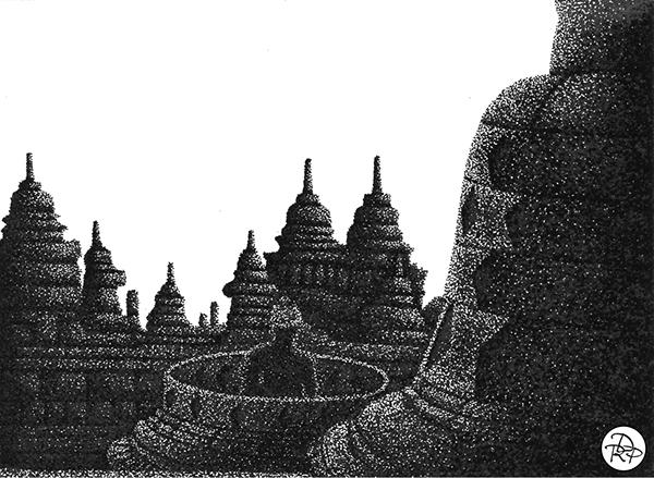 Buddhist temple landscape by David Rodríguez